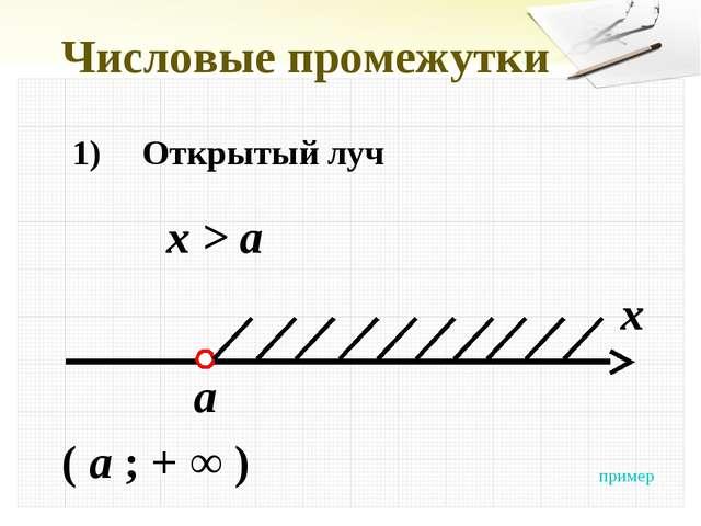 Числовые промежутки 1)Открытый луч x > a x a ( a ; + ∞ ) пример