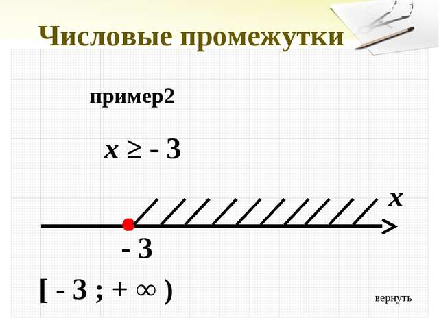 Числовые промежутки пример2 x ≥ - 3 x - 3 [ - 3 ; + ∞ ) вернуть