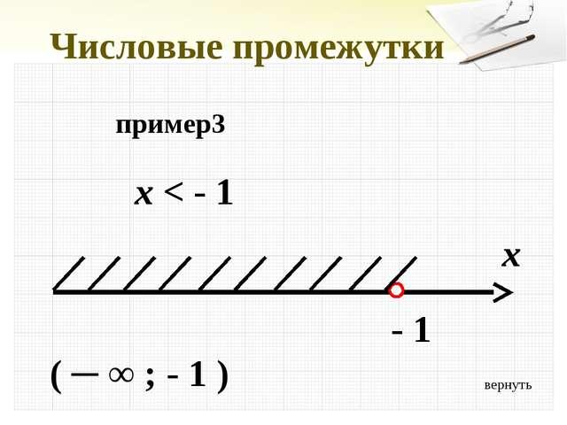 вернуть Числовые промежутки пример3 x < - 1 x - 1 ( ─ ∞ ; - 1 )
