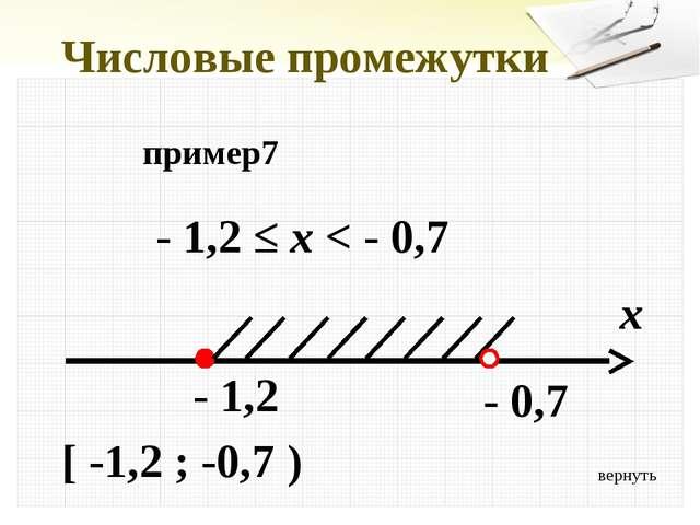 вернуть Числовые промежутки пример7 - 1,2 ≤ x < - 0,7 x - 1,2 [ -1,2 ; -0,7...