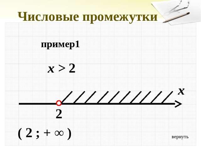 Числовые промежутки пример1 x > 2 x 2 ( 2 ; + ∞ ) вернуть