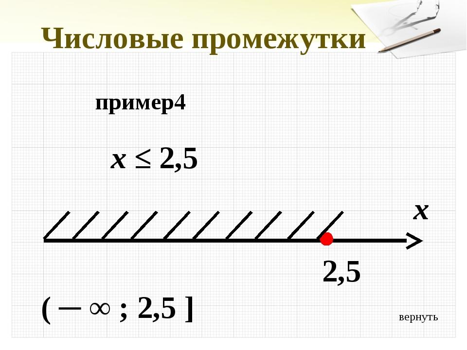 вернуть Числовые промежутки пример4 x ≤ 2,5 x 2,5 ( ─ ∞ ; 2,5 ]