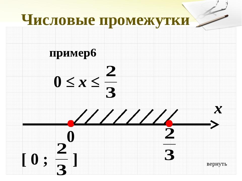 вернуть Числовые промежутки пример6 0 ≤ x ≤ x 0 [ 0 ; ]