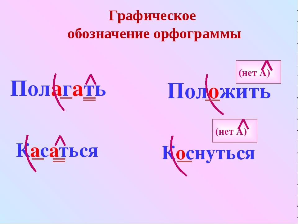 Графическое обозначение орфограммы Полагать Положить (нет А) Касаться Коснуть...
