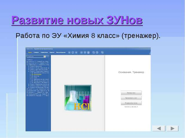 Развитие новых ЗУНов Работа по ЭУ «Химия 8 класс» (тренажер).