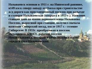 Называевск основан в 1911 г. на Ишимской равнине, в149 км к северу-западу от