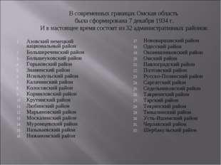 В современных границах Омская область была сформирована 7 декабря 1934 г. И в