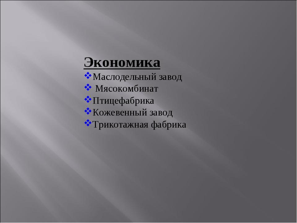 Экономика Маслодельный завод Мясокомбинат Птицефабрика Кожевенный завод Трико...