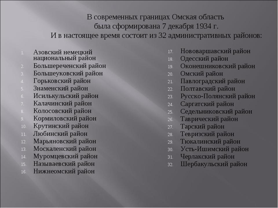 В современных границах Омская область была сформирована 7 декабря 1934 г. И в...