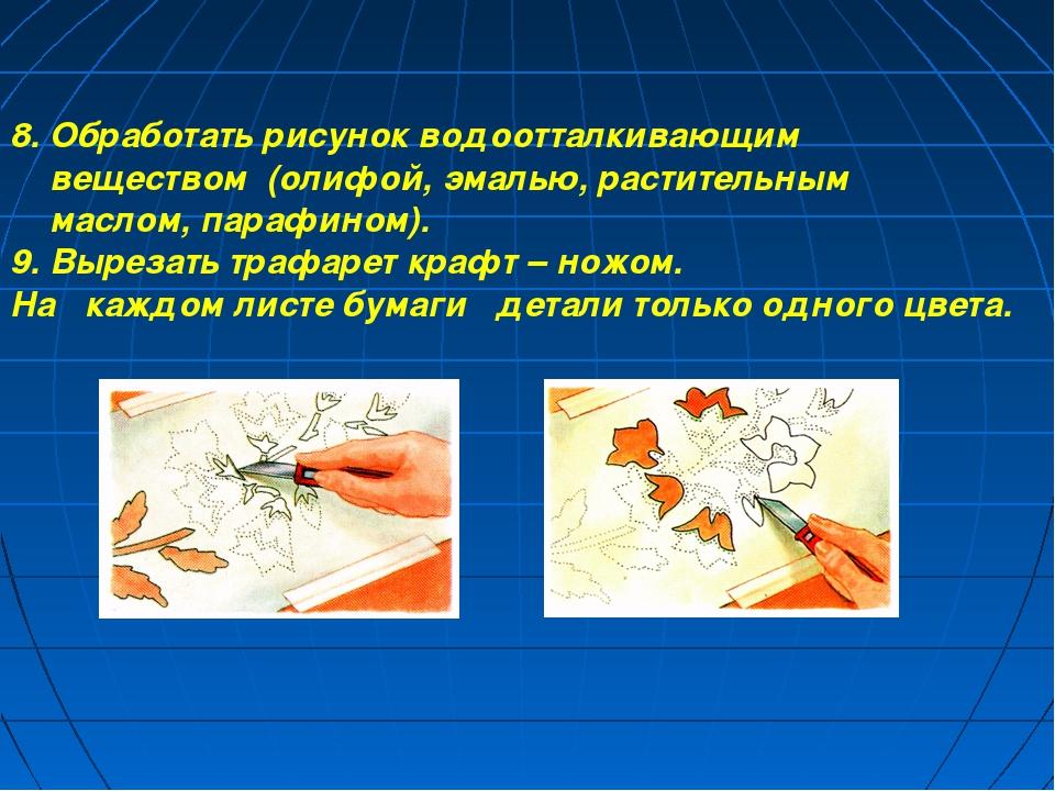 8. Обработать рисунок водоотталкивающим веществом (олифой, эмалью, раститель...