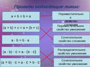 a + b = b + a Проведи подходящие линии: Переместительное свойство сложения Пе