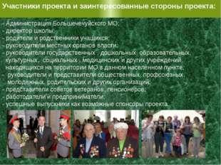 Участники проекта и заинтересованные стороны проекта: - Администрация Большеч