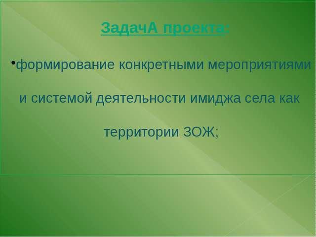 ЗадачА проекта: формирование конкретными мероприятиями и системой деятельнос...