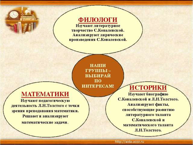 НАШИ ГРУППЫ – ВЫБИРАЙ ПО ИНТЕРЕСАМ! ИСТОРИКИ Изучают биографию С.Ковалевской...