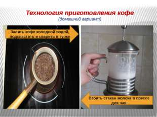 Технология приготовления кофе (домашний вариант) Залить кофе холодной водой,