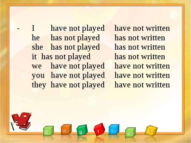 - I 	have not played he 	has not played she 	has not played it 	has not playe...