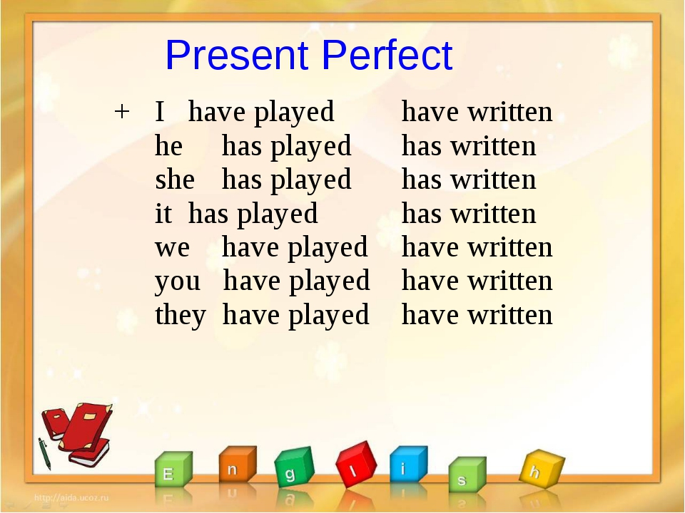 Present Perfect + I 	have played he 	has played she 	has played it 	has playe...