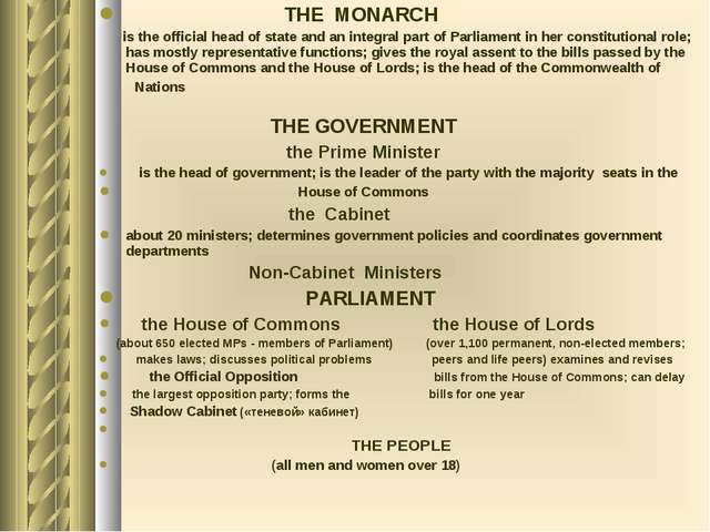 THE MONARCH is the official head of state and an integral part of Parliament...