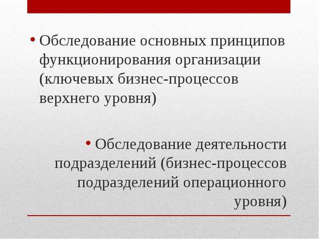 Обследование основных принципов функционирования организации (ключевых бизнес...