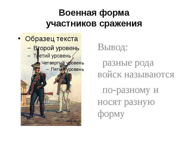 Военная форма участников сражения Вывод: разные рода войск называются по-разн...