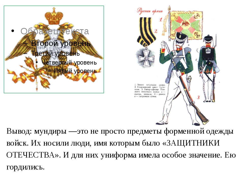 Вывод: мундиры —это не просто предметы форменной одежды войск. Их носили люди...