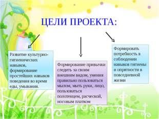 ЦЕЛИ ПРОЕКТА: Развитие культурно-гигиенических навыков, формирование простейш