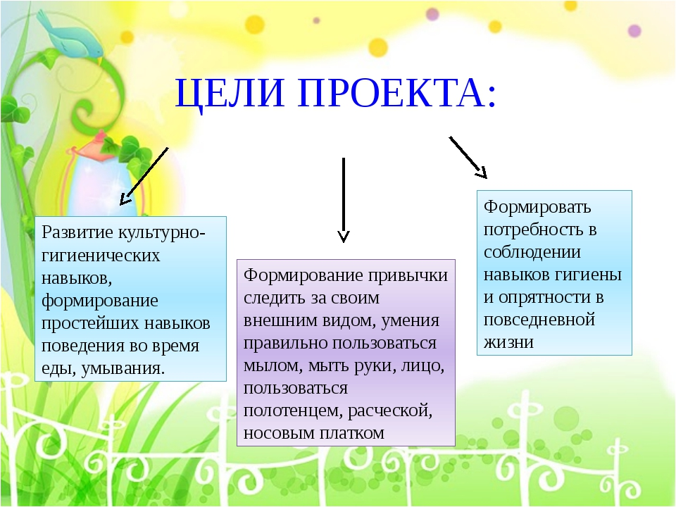 ЦЕЛИ ПРОЕКТА: Развитие культурно-гигиенических навыков, формирование простейш...