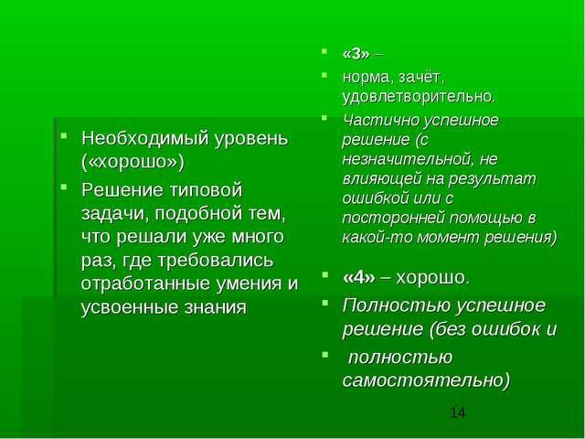 Необходимый уровень («хорошо») Решение типовой задачи, подобной тем, что реша...