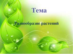 Тема Разнообразие растений