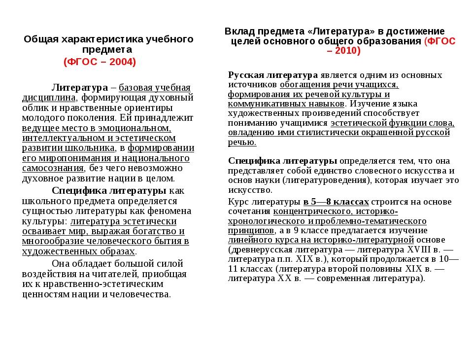 Общая характеристика учебного предмета (ФГОС – 2004)  Литература – базова...