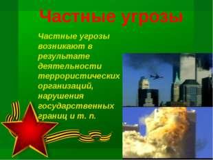 Частные угрозы Частные угрозы возникают в результате деятельности террористич