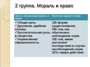 2 группа. Мораль и право Черты, сближающие мораль и правоРазличия морали и п