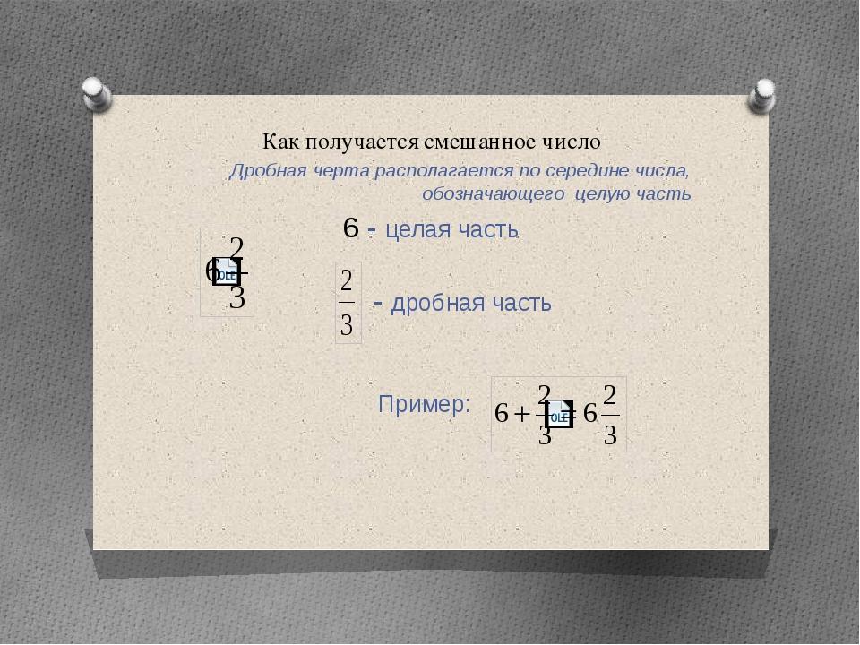 Как получается смешанное число Дробная черта располагается по середине числа,...