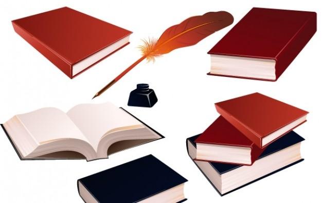 Описание: Книги, Чернила и Перо Вектор