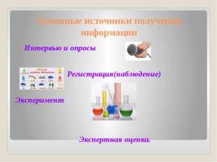 Основные источники получения информации Интервью и опросы  Регистрация(н