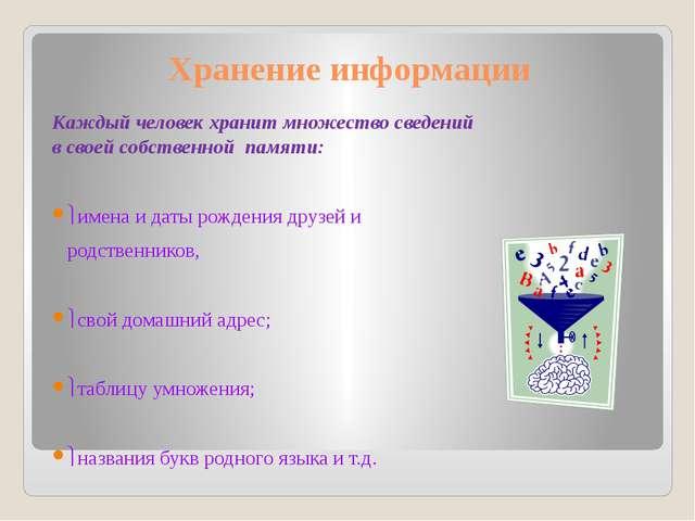 Хранение информации Каждыйчеловекхранитмножествосведений всвоейсобствен...
