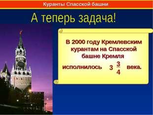 Куранты Спасской башни В 2000 году Кремлевским курантам на Спасской башне Кре