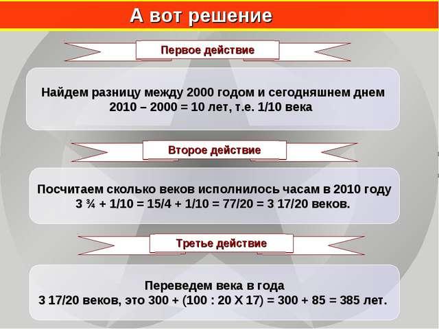А вот решение Найдем разницу между 2000 годом и сегодняшнем днем 2010 – 2000...