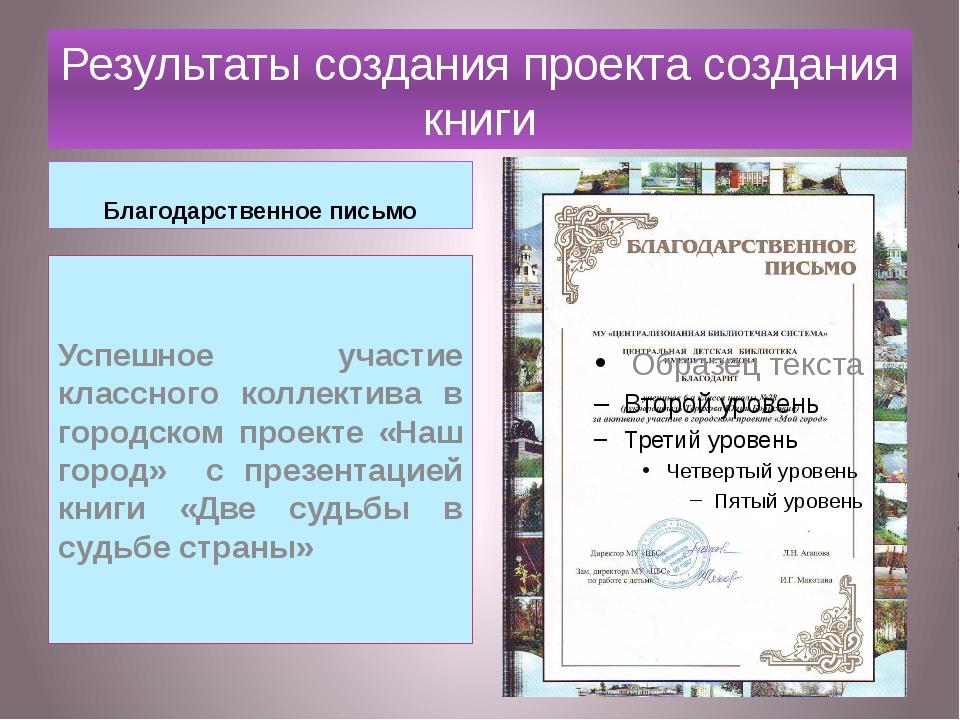 Результаты создания проекта создания книги Благодарственное письмо Успешное у...