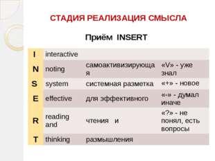 СТАДИЯ РЕАЛИЗАЦИЯ СМЫСЛА Приём INSERT I interactive N noting самоактивизирую