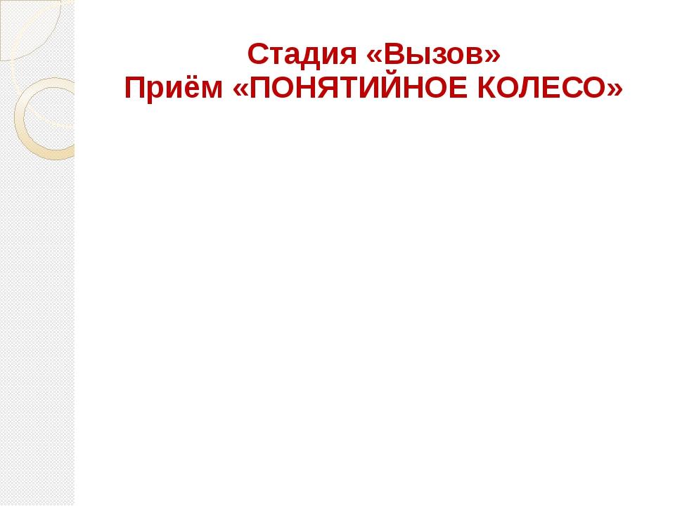 Стадия «Вызов» Приём «ПОНЯТИЙНОЕ КОЛЕСО»