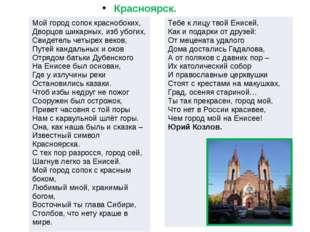 Красноярск.           Мой город сопок краснобоких, Дворцов