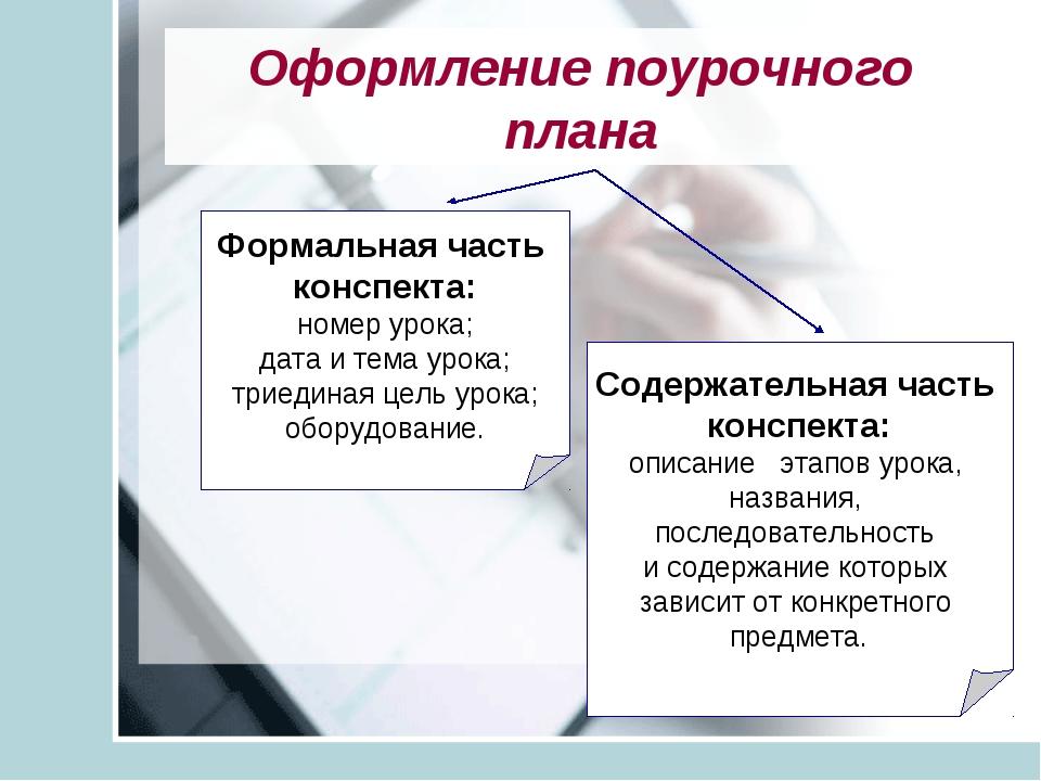 Оформление поурочного плана Формальная часть конспекта: номер урока; дата и т...