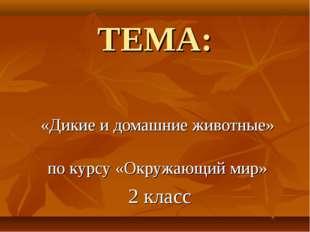 ТЕМА: «Дикие и домашние животные» по курсу «Окружающий мир» 2 класс