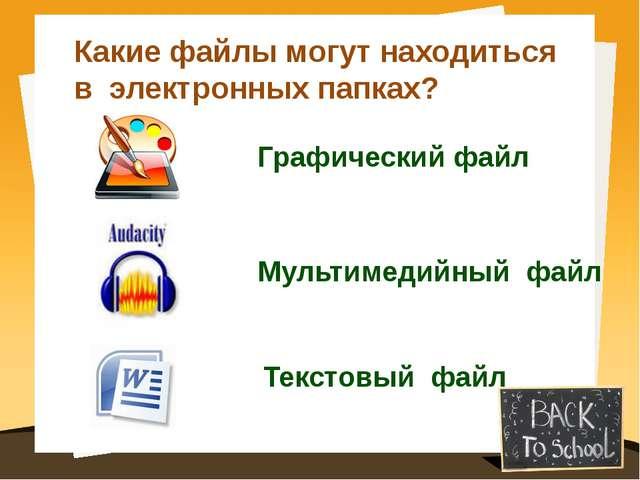Какие файлы могут находиться в электронных папках? Графический файл Мультимед...