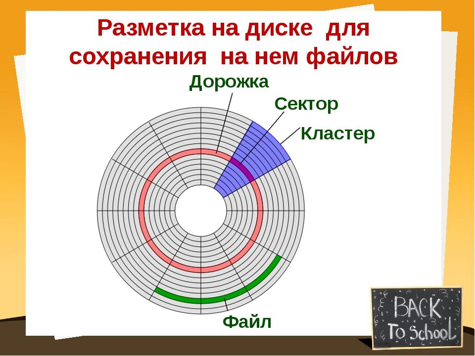 Файл Кластер Дорожка Сектор Разметка на диске для сохранения на нем файлов