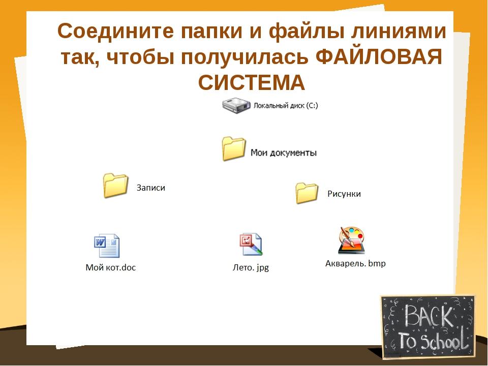Соедините папки и файлы линиями так, чтобы получилась ФАЙЛОВАЯ СИСТЕМА