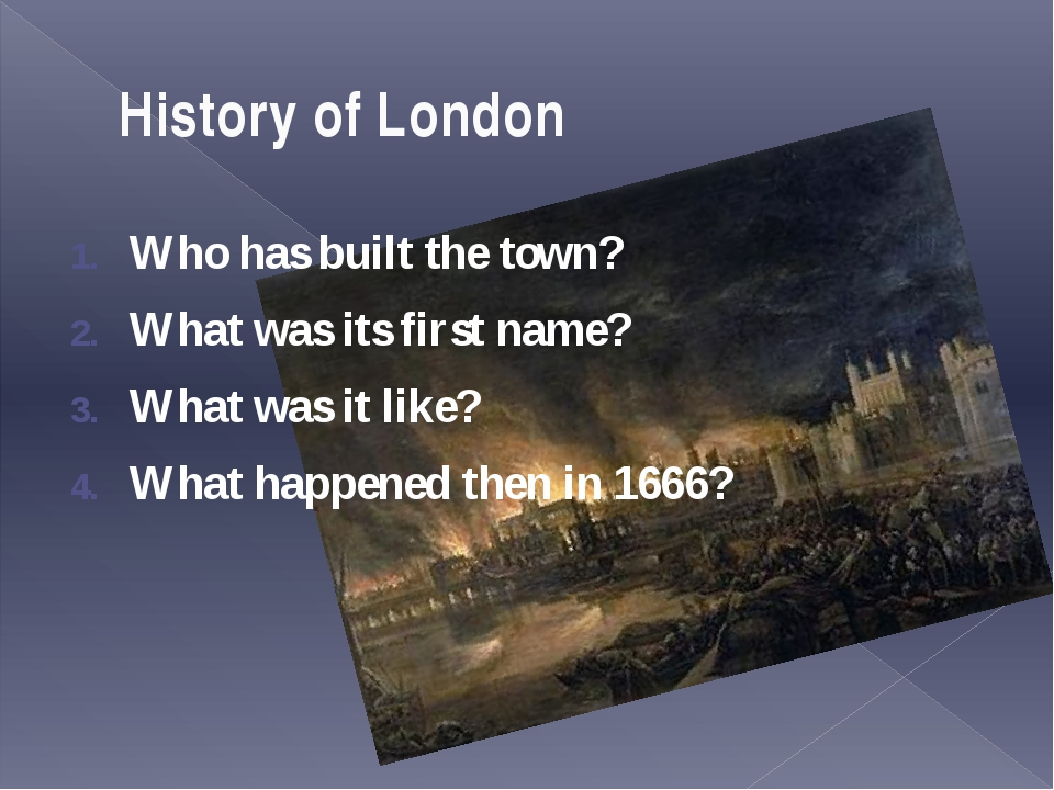 The fire of London In October 1796 there was a fire in the old city of London...