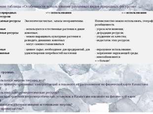 Заполнение таблицы «Особенности использования различных видов природных ресур