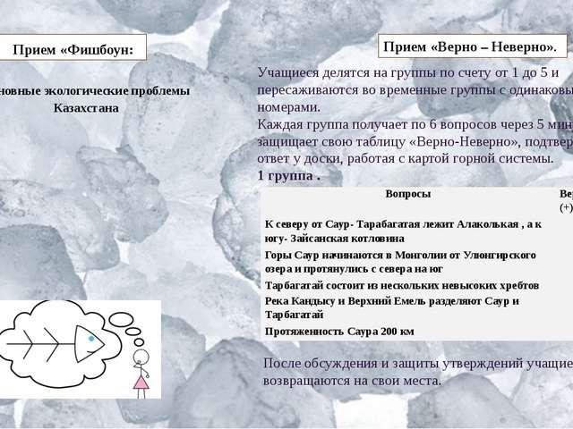 Прием «Фишбоун: Основные экологические проблемы Казахстана Прием «Верно – Н...